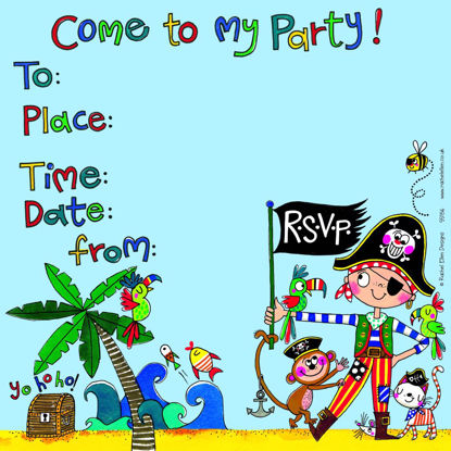 Party Invite Pirate - Pack of 8, 149x149mm
