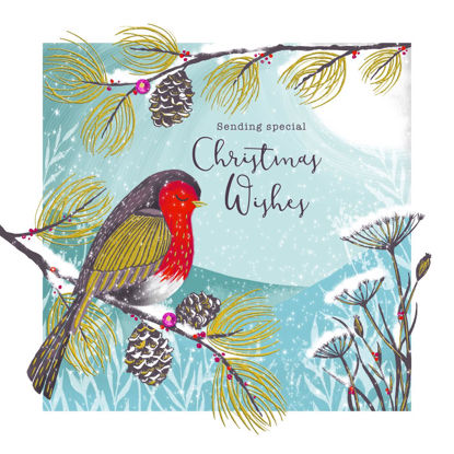 Enchanted Christmas - Robin On Blue, Doppelkarte m. Couvert, 159x159mm