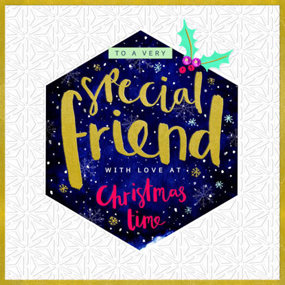 Merry & Bright - Special Friend/Emboss Christmas Pattern, Doppelkarte m. Couvert, 159x159mm