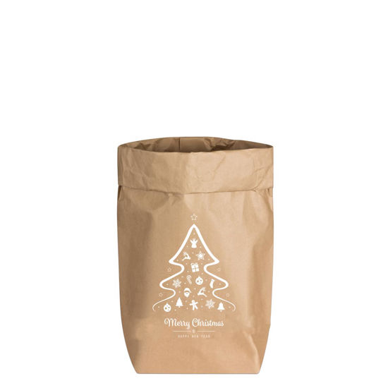 Paperbags Small natur, Merry Christmas & Happy New Year, weiß