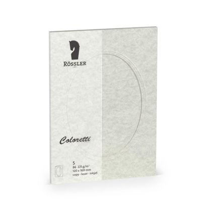 5er Pack, parchment wolkengrau, 220g, 240x169mm, PP oval