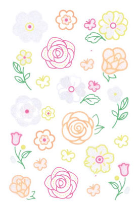 Neon Colourful Line-Sticker Flowers