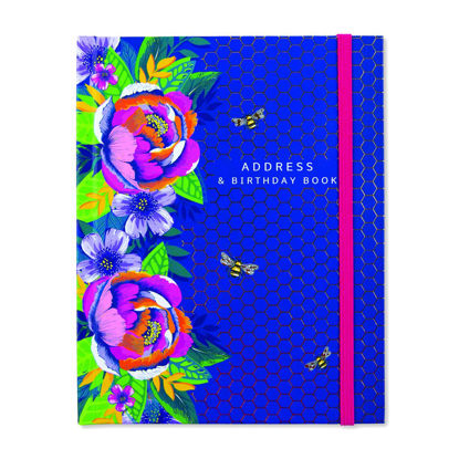Adressbuch - Navy/Floray & Bees 140x180mm