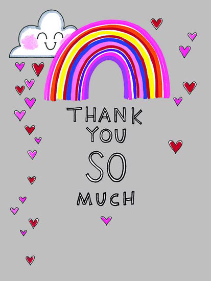 10 Minidoppelkarten mit Couvert - Thank you so much - Rainbow - 80x105mm, plastikfrei verpackt