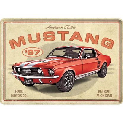 Ford Mustang - GT 1967 Red, Metal Card, 14x0x10 cm