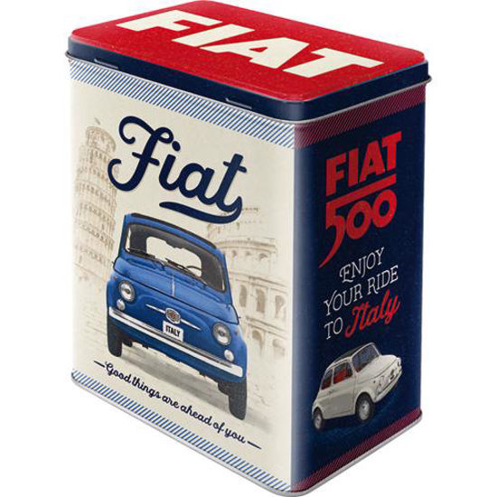 Fiat 500 - Good things are ahead of you, Tin Box L, 14x20x10 cm