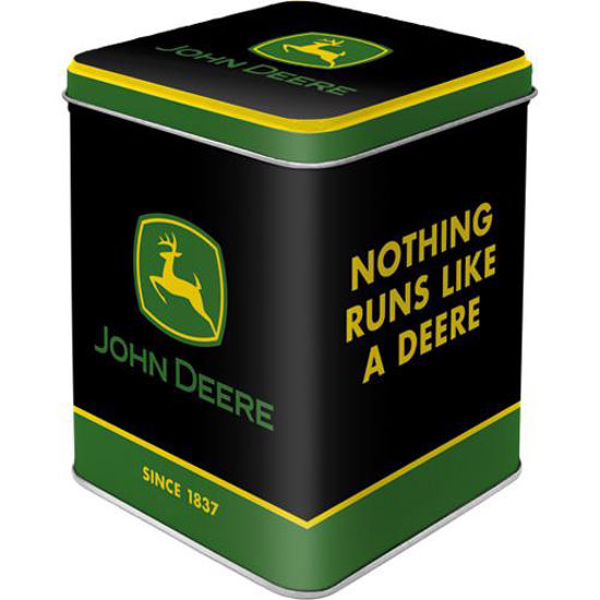John Deere - Logo Black, Tea Box, 7,5x7,5x9,5 cm