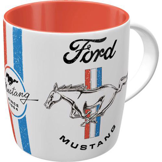 Ford Mustang - Horse & Stripes Logo, Mugs, 8,5x9 cm, 330ml