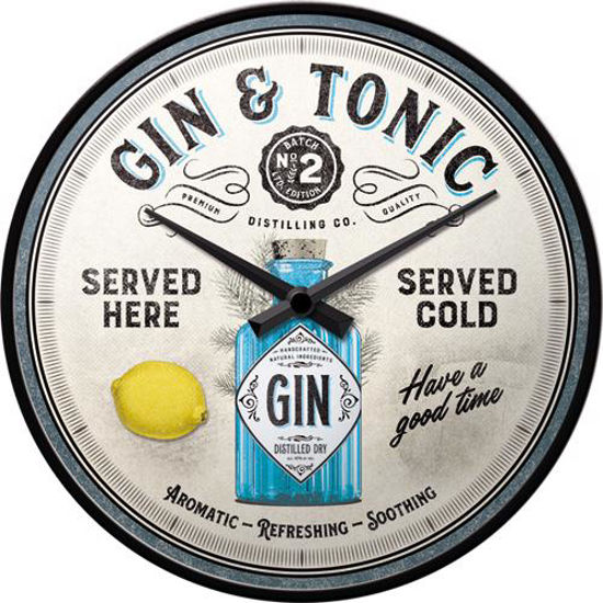 Gin & Tonic Served Here, Wall Clock, 31x6 cm