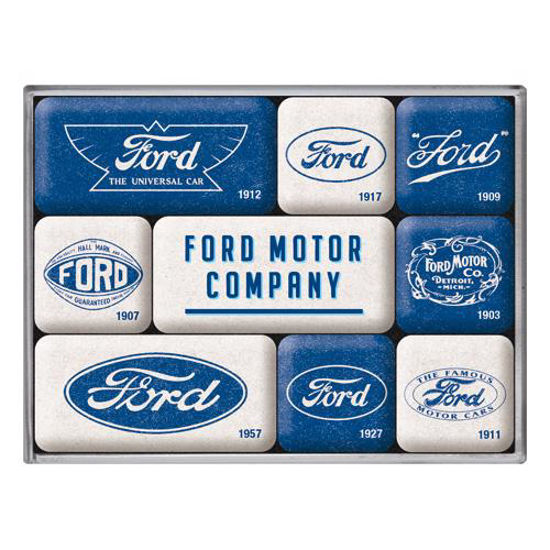 Ford - Logo Evolution, Magnet Set (9pcs), 9x2x7 cm