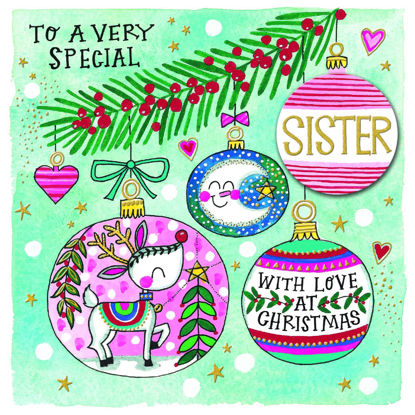 Christmas Chatterbox - Special Sister/Baubles, Doppelkarte m. Couvert, 149x149mm