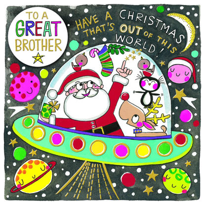 Christmas Chatterbox - Great Brother/Santa On Space Ship, Doppelkarte m. Couvert, 149x149mm