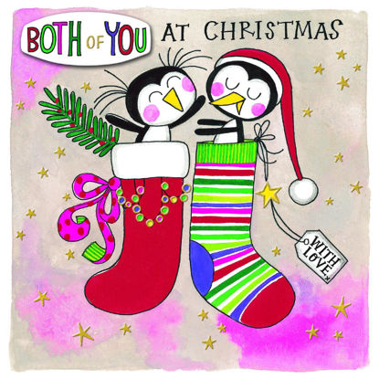 Christmas Chatterbox - Both Of You/Penguins In Stockings, Doppelkarte m. Couvert, 149x149mm
