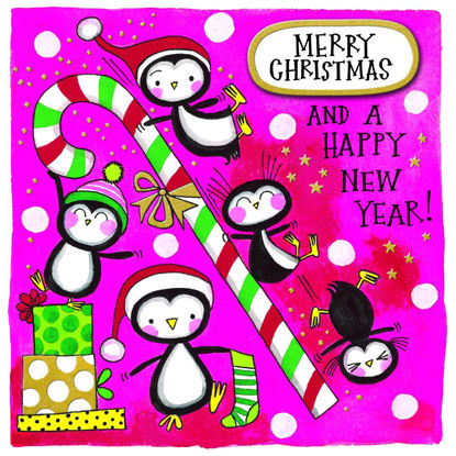 Christmas Chatterbox - Penguins & Candy Cane, Doppelkarte m. Couvert, 149x149mm
