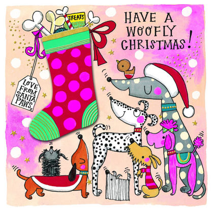 Christmas Chatterbox - Woofly Christmas/Dogs & Stocking, Doppelkarte m. Couvert, 149x149mm