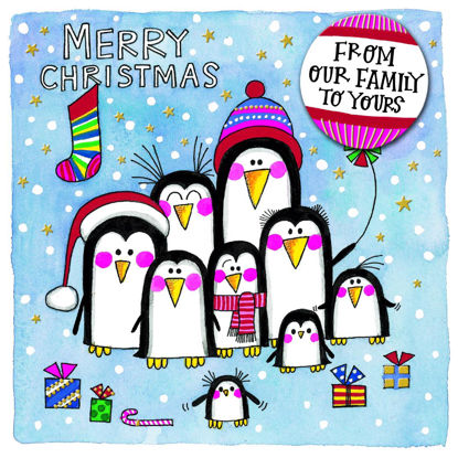 Christmas Chatterbox - Our Family To Yours/Penguins, Doppelkarte m. Couvert, 149x149mm
