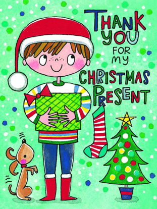Christmas pack of 5 - Thank you for my present/boy, 5 Minidoppelkarten m. Couverts, 105x80mm