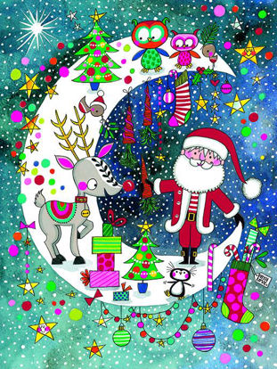 Christmas pack of 5 - Santa & Rudolph On Moon, 5 Minidoppelkarten m. Couverts, 105x80mm