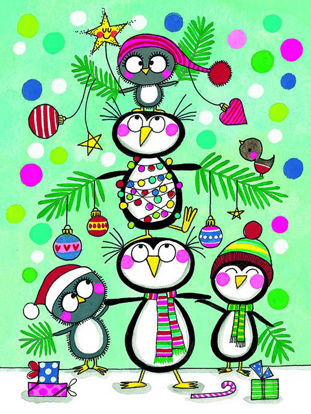 Christmas pack of 5 - Penguin Christmas Tree, 5 Minidoppelkarten m. Couverts, 105x80mm