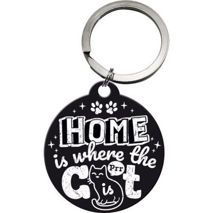 Home is where the cat is black, Key Chain Round, 4x0x4 cm/A410
