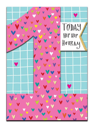 Doppelkarte mit Couvert, 120x170mm, DITTO - Age 1 Girl - Hip Hip Hooray/Hear