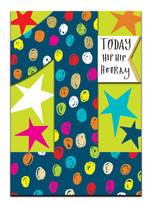 Doppelkarte mit Couvert, 120x170mm, DITTO - Age 1 Boy - Hip Hip Hooray/Stars