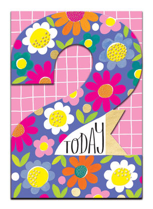 Doppelkarte mit Couvert, 120x170mm, DITTO - Age 2 Girl/Flowers