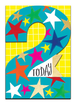 Doppelkarte mit Couvert, 120x170mm, DITTO - Age 2 Boy/Stars