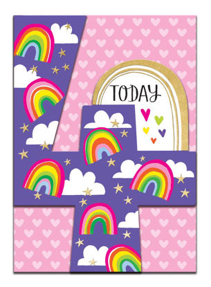 Doppelkarte mit Couvert, 120x170mm, DITTO - Age 4 Girl/Rainbows & Hearts