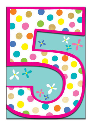 Doppelkarte mit Couvert, 120x170mm, DITTO - Age 5 Girl/Spots & Flowers