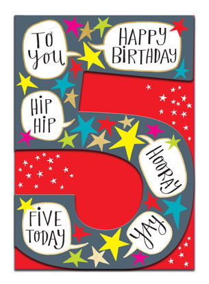 Doppelkarte mit Couvert, 120x170mm, DITTO - Age 5 Boy/Hip Hip Hooray Yay