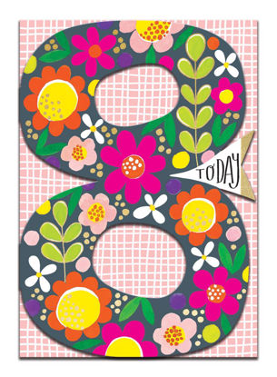 Doppelkarte mit Couvert, 120x170mm, DITTO - Age 8 Girl/Floral