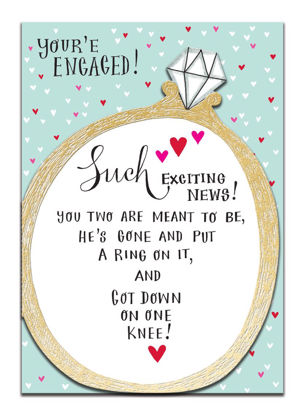Doppelkarte mit Couvert, 120x170mm, DITTO - You're engaged!/Hearts & Ring