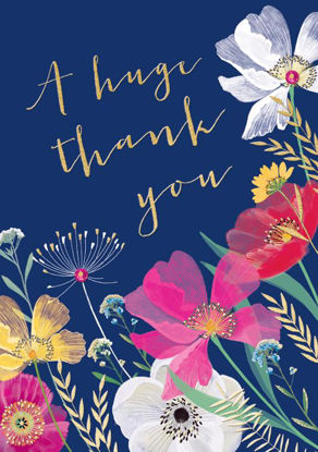Doppelkarte mit Couvert, 120x170mm, Wild Flower - Thank you floral on navy