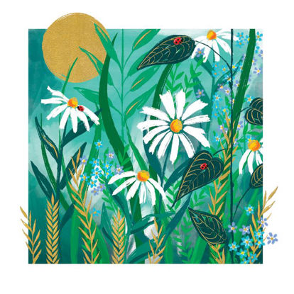 Doppelkarte mit Couvert, 120x170mm, Gallery - Blank/Daisies On Teal
