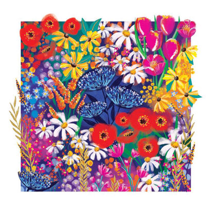 Doppelkarte mit Couvert, 120x170mm, Gallery - Blank/Brights Floral