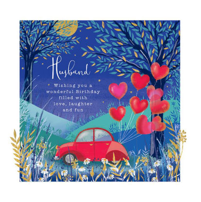 Doppelkarte mit Couvert, 120x170mm, Gallery - Husband Birthday/Car & Baloons